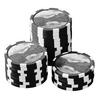 Milford Sound blanco y negro Fichas De Póquer