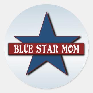 Militares de la mamá de la estrella azul pegatina redonda