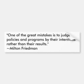 Milton Friedman en programas gubernamentales Pegatina Para Coche