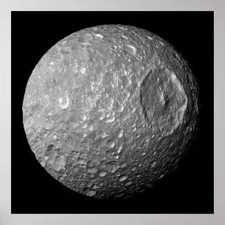 Mimas la luna de Saturn de la nave espacial de Cas Impresiones