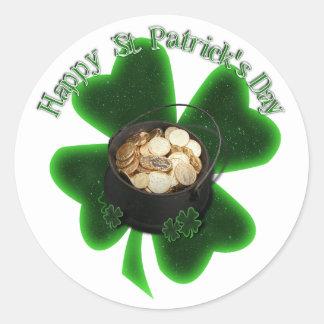 Mina de oro y trébol del día de St Patrick Etiquetas Redondas