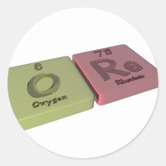 Mineral como el oxígeno de O y re renio Etiquetas Redondas