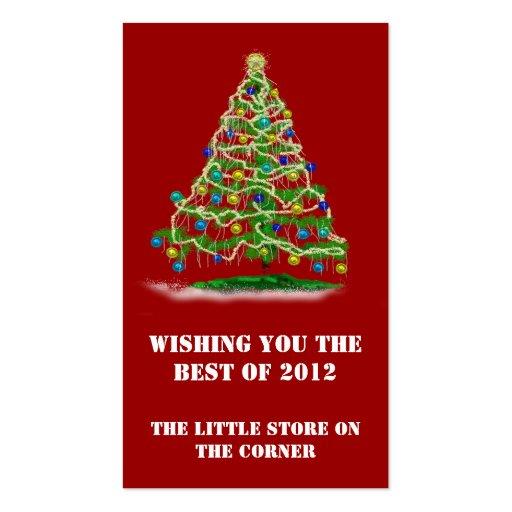 Mini árbol de navidad de las tarjetas w y del cale tarjeta de negocio