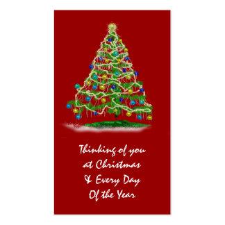 Mini árbol de navidad de las tarjetas w y del cale tarjetas de visita