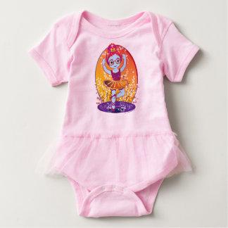 Mini bailarina en tutú de los vidrios body para bebé