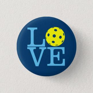 Chapa Redonda De 2,5 Cm Mini botón de Pickleball: AMOR (azul)