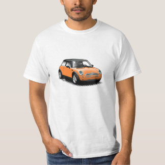 Mini camiseta moderna anaranjada del coche