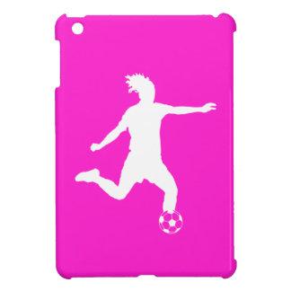 Mini caso del fútbol del iPad rosado de la silueta