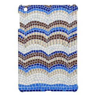 Mini caso del iPad brillante azul del mosaico