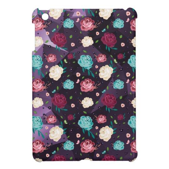 Mini caso del iPad brillante listo floral del caso