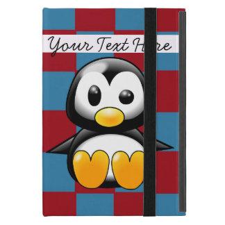 Mini caso del iPad lindo rojo y azul del pingüino iPad Mini Protectores