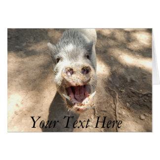 Mini cerdo sonriente personalizado tarjeta de felicitación