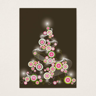 Mini invitación del árbol de navidad retro rosado