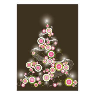 Mini invitación del árbol de navidad retro rosado tarjetas de visita grandes