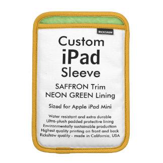 Mini manga del iPad de encargo - (azafrán y verde) Funda De iPad Mini