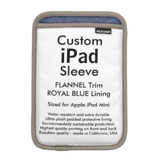 Mini manga del iPad de encargo - (franela y azul Fundas De iPad Mini
