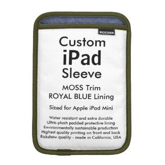 Mini manga del iPad de encargo - (musgo y azul Fundas Para iPad Mini