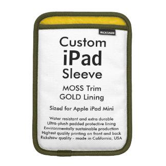 Mini manga del iPad de encargo - (musgo y oro) Fundas De iPad Mini
