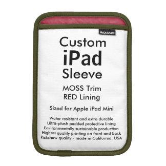 Mini manga del iPad de encargo - (musgo y rojo) Fundas De iPad Mini