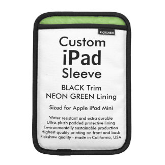Mini manga del iPad de encargo - (negro y verde Funda De iPad Mini