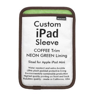 Mini manga del iPad de encargo - (verde del café y Funda De iPad Mini