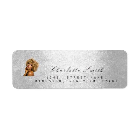 Mini metálico de los gris plateados de la foto de etiqueta de remitente