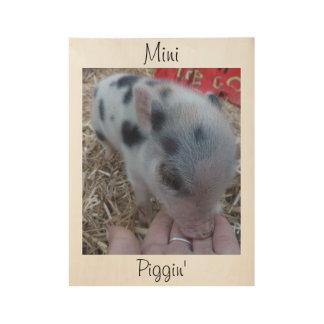 Mini poster de madera de la pared de Piggin -