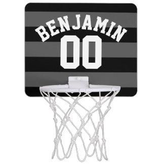 Miniaro De Baloncesto El rugbi de plata negro y gris raya el número