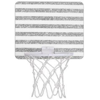 Miniaro De Baloncesto Falso modelo de plata elegante de la raya del