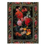 Miniatura floral de gran colorido del arte persa postal