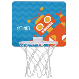Minicanasta De Baloncesto Azul anaranjado loco personalizado Chevron del