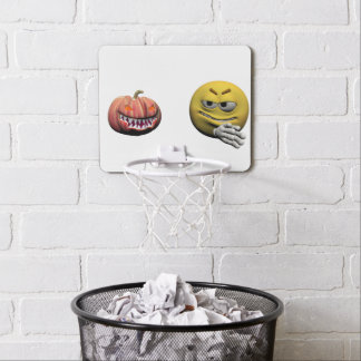 Minicanasta De Baloncesto Emoticon amarillo o smiley de Halloween