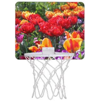 Minicanasta De Baloncesto Ondas florales del carmesí de Falln