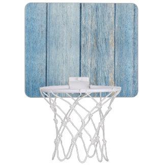 Minicanasta De Baloncesto Textura de madera azul resistida rústica de los