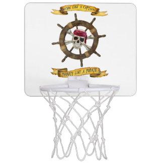 Minicanasta De Baloncesto Trabajo como un capitán Party Like un pirata