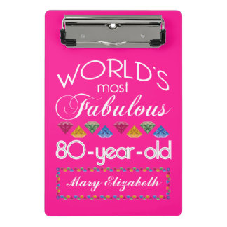 Minicarpeta De Pinza 80.o Cumpleaños la mayoría del rosa colorido