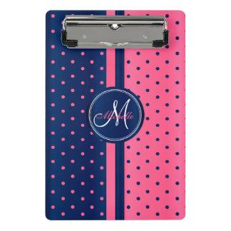 Minicarpeta De Pinza Azules marinos y lunares rosados - monograma