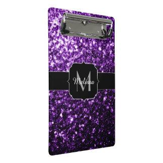 Minicarpeta De Pinza El brillo púrpura oscuro hermoso chispea monograma