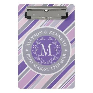 Minicarpeta De Pinza Hoja púrpura del laurel de las rayas de moda de la