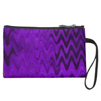 Miniclutch De Ante fondo negro púrpura de la onda
