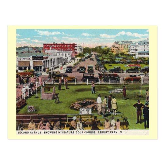 Minigolf, parque de Asbury, vintage de New Jersey Postal