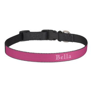 Minimalist blanco rosado oscuro magenta del nombre collar de perro