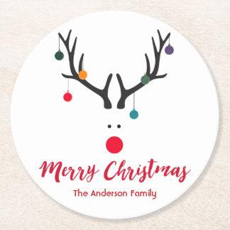 Minimalist de las Felices Navidad y blanco lindo Posavasos Redondo De Papel