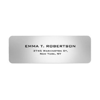 Minimalist de moda moderno elegante gris metálico etiqueta de remite