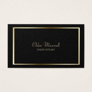 Minimalist exquisito del marco del oro en negro tarjeta de visita