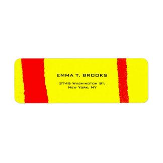 Minimalist llano moderno elegante rojo amarillo etiqueta de remite