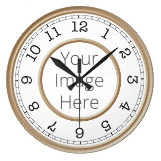Minimalist moderno de Brown de la foto de encargo Reloj Redondo Grande