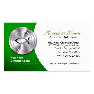 Ministro cristiano de plata/pastor del símbolo de tarjetas de visita