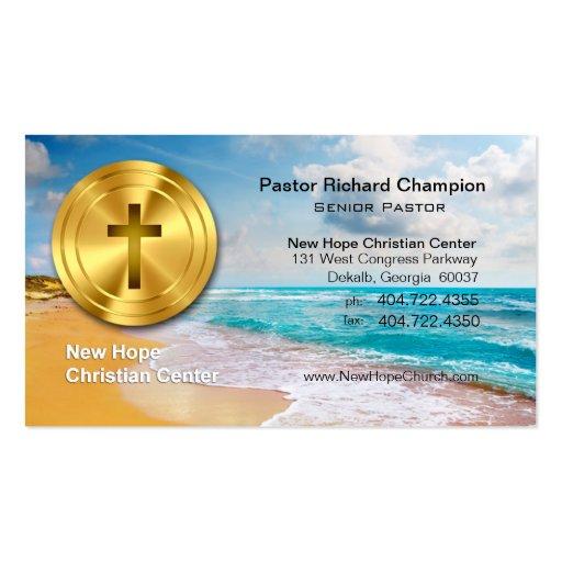 Ministro cristiano/pastor de la playa cruzada de o plantillas de tarjetas personales