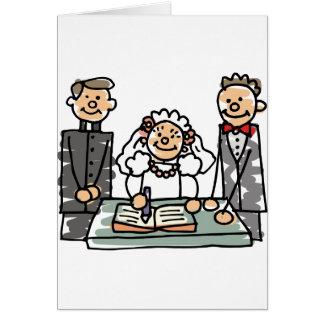Ministro libro del sacerdote del novio de la novia tarjeta de felicitación